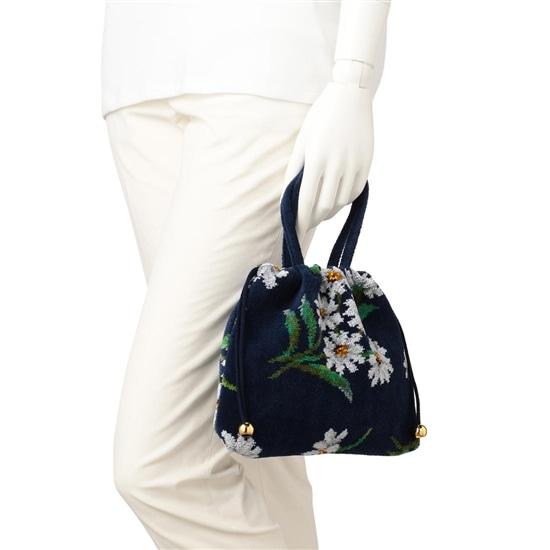 ホワイトマーガレット 手付き巾着バッグ WMG-191091